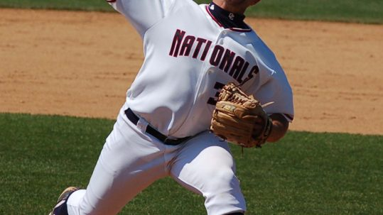 Adam Carr washington nationals baseball pitcher while in minor leagues taken at the Phitz 5/26/08 He is a prospect playing in the Class A Carolina League